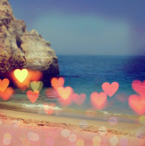 hearts on ocean